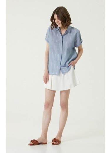 NetWork 1079831 Kadın Basic Fit Çizgili Gömlek Mavi